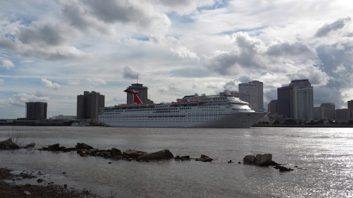 The Carnival Elation leaving the city on her trip to Cazumel.